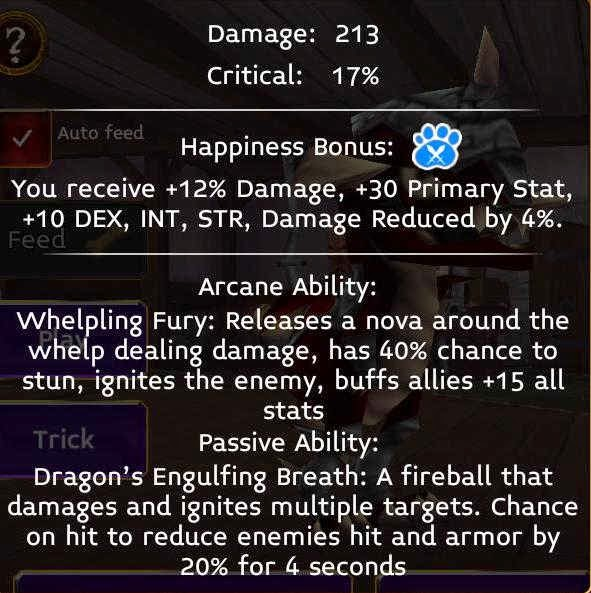 Singe stats in arcane legends