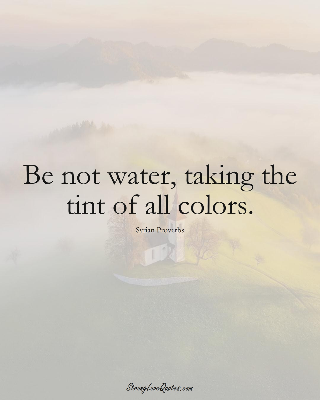 Be not water, taking the tint of all colors. (Syrian Sayings);  #MiddleEasternSayings