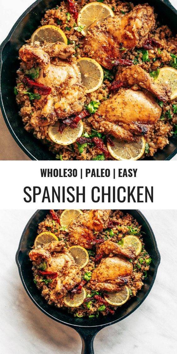 WHOLE30 SPANISH CHICKEN AND CAULIFLOWER RICE #recipes #dinnerrecipes #dinnerideas #foodrecipes #foodrecipeideasfordinner #food #foodporn #healthy #yummy #instafood #foodie #delicious #dinner #breakfast #dessert #lunch #vegan #cake #eatclean #homemade #diet #healthyfood #cleaneating #foodstagram