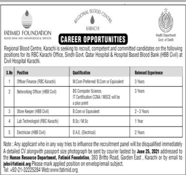 Fatimid Foundation Regional Blood Center Civil Hospital Karachi Jobs 2021
