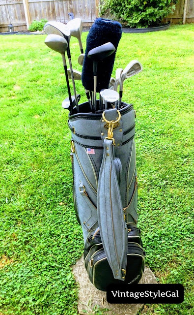 Golf bag sitting in yard