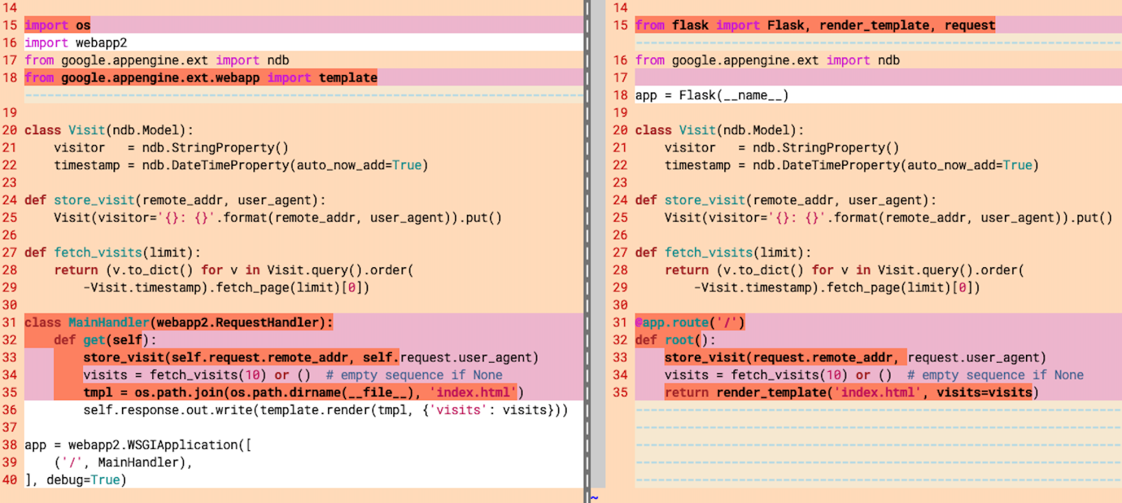 The diffs between the webapp2 and Flask versions of the sample app