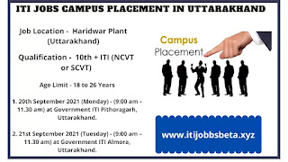 ITI Jobs Campus Selection 2021 Govt ITI Pithoragarh And Almora Uttarakhand