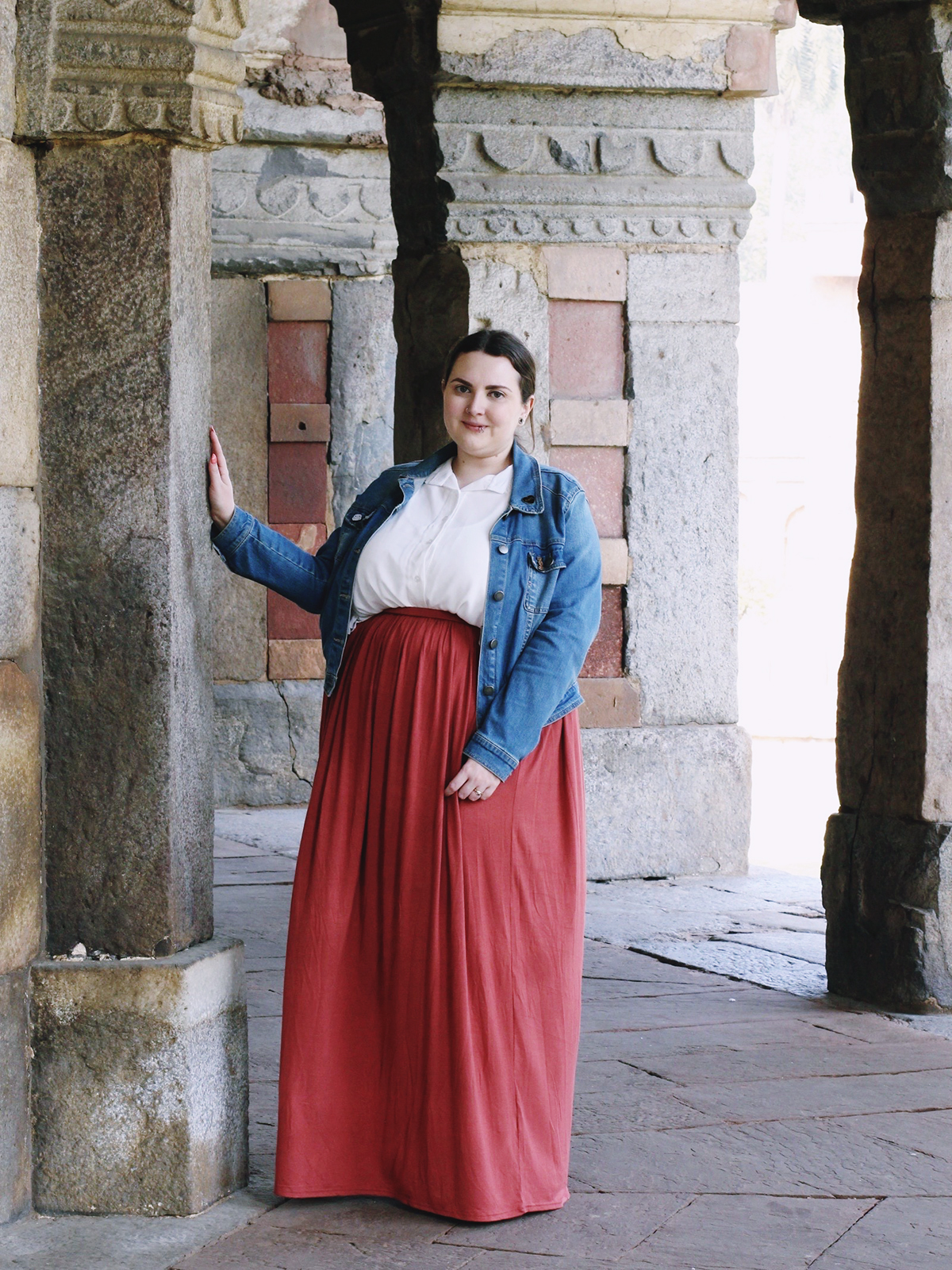 plus size women's outfit for India- blue denim jacket, white blouse and terracotta maxi skirt