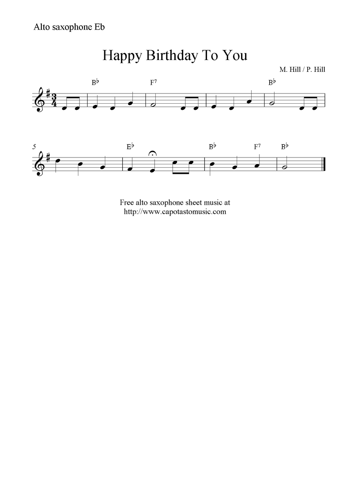 picture relating to Free Printable Alto Saxophone Sheet Music known as Pleased Birthday Towards By yourself, absolutely free uncomplicated alto saxophone sheet songs
