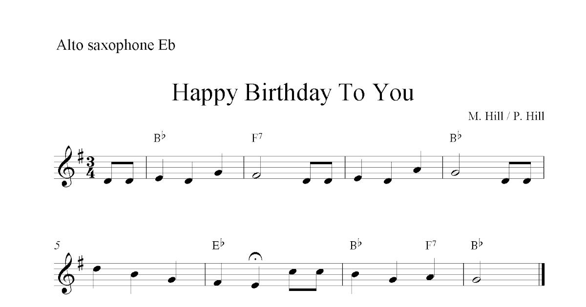 Free Printable Sheet Music Happy Birthday To You Free Easy Alto Saxophone Sheet Music Notes