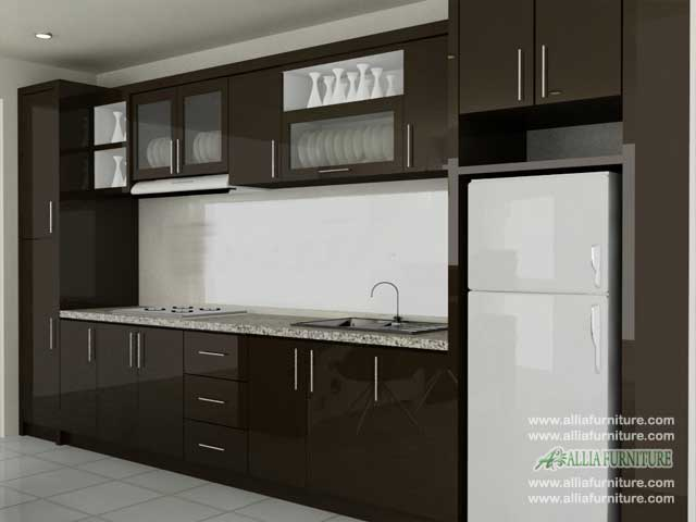 kitchen set minimalis single line flow