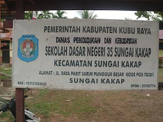 Diduga Pembangun SD 35 Sungai Kakap Kuburaya Asal Asalan