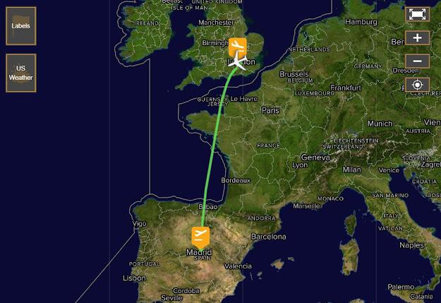 ejemplo de mapa de trayectos de vuelos