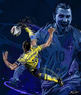 zlatan ibrahimovic illustration - legendary old player