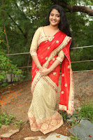 Akshara in Red Saree Golden Choli at LV Movie Makers Production No 1 Movie Opening ~  Exclusive 064.JPG
