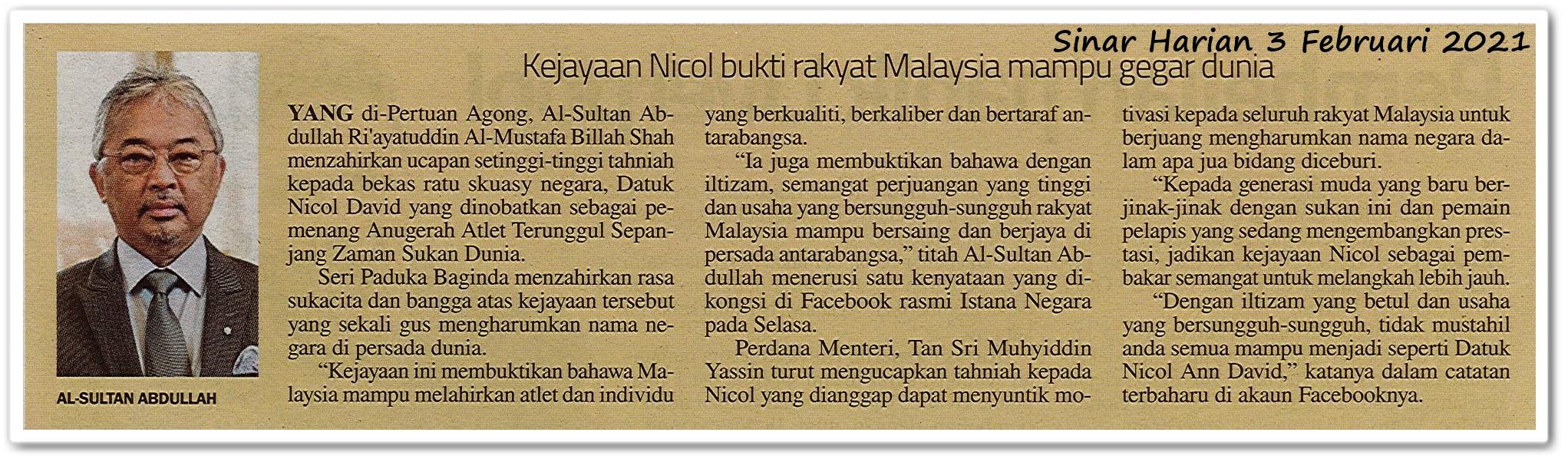 Kejayaan Nicol bukti rakyat Malaysia mampu gegar dunia - Keratan akhbar Sinar Harian 3 Februari 2021