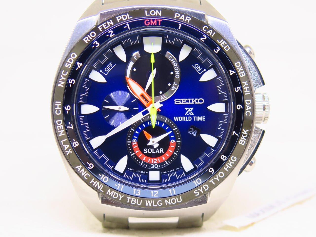 SEIKO WORLDTIME CHRONOGRAPH ALARM SUNBURST BLUE DIAL - SEIKO SSC549P1 - SOLAR MOVEMENT