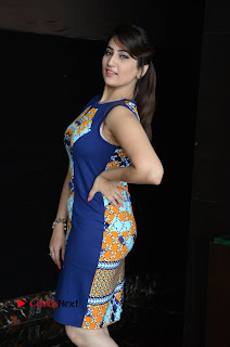 Actress Anchor Manjusha Pictures in Blue Short Dress at Jaguar Movie Success Meet .COM 0015.jpg