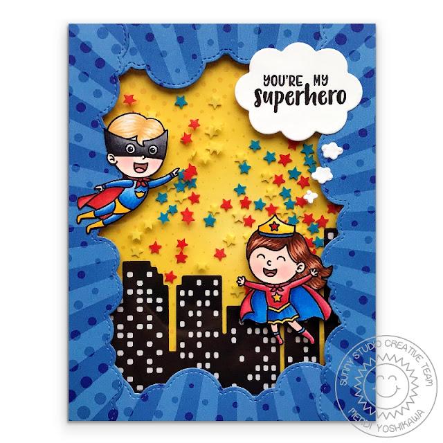 Sunny Studio Stamps: Super Duper You're My Superhero Star Shaker Card (using Comic Strip Speech Bubbles Dies, Cityscape Border die, Fluffy Clouds Border dies & Heroic Halftones 6x6 Paper)