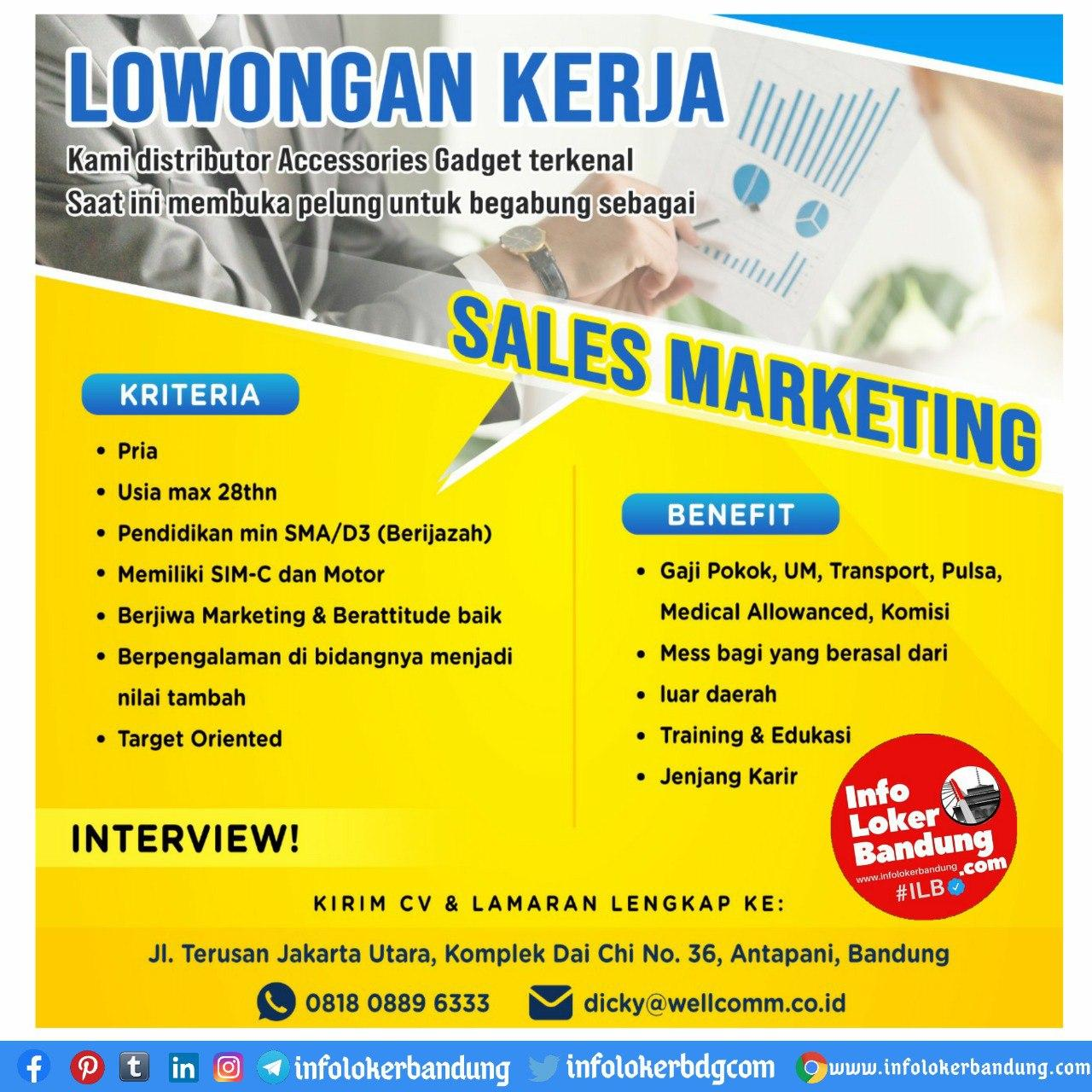 Lowongan Kerja Sales Marketing CV. Bandung Indo Pratama ( Wellcomm ) September 2020