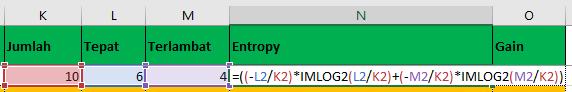 Entropy Algoritma C4.5 Rumus Excel