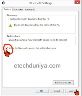 How to unable bluetooth receive option on windows 8/8.1