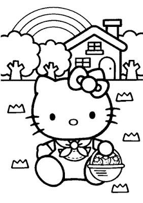 Hello Kitty dibujo para colorear casa de campo