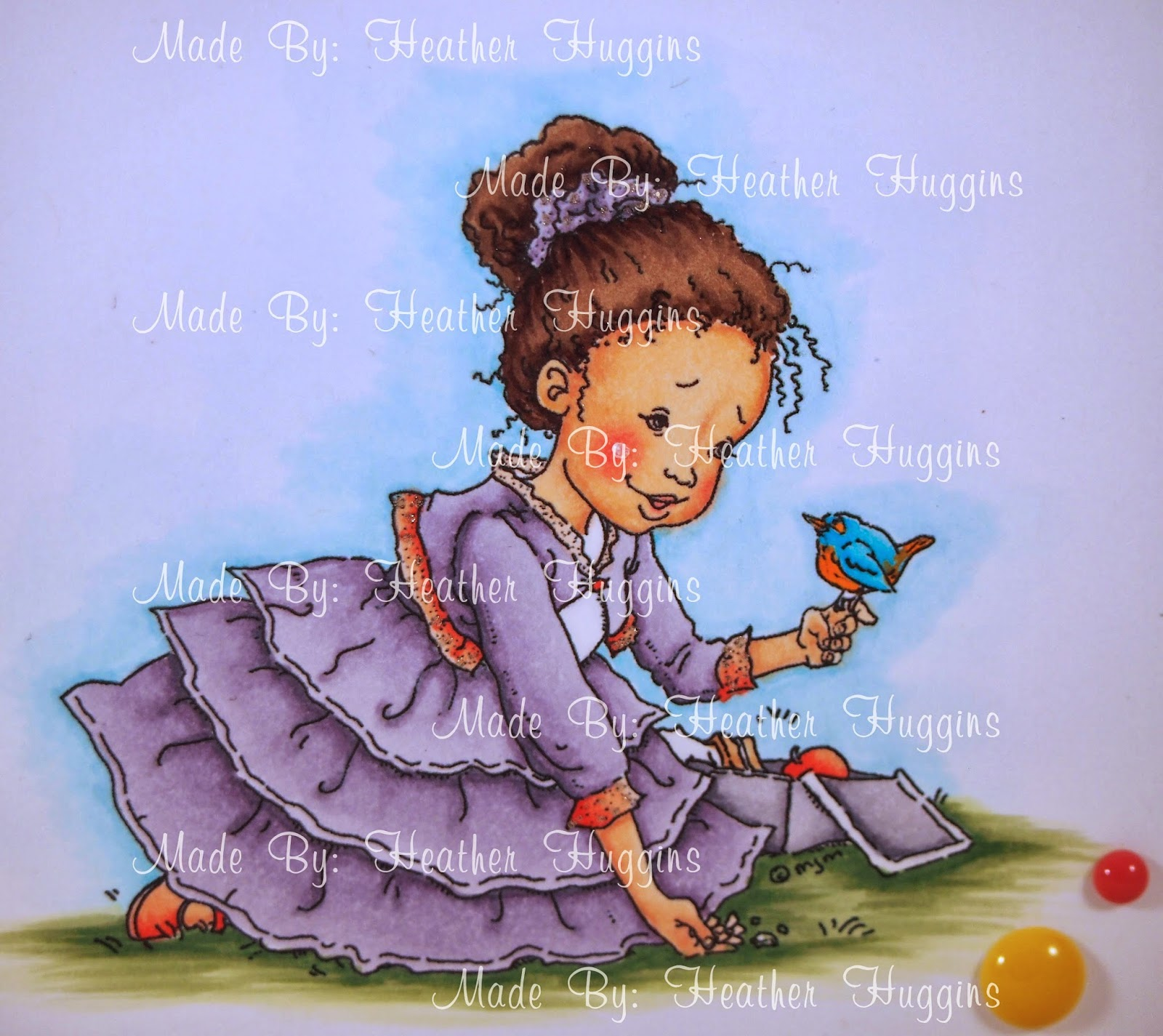 Heather's Hobbie Haven - Outline: B01, B00, B000, B0000, Colorless Blender Ground: G24, G21, G20 Skin: E11, E21, E00, E000 Cheeks: R43, R20, R30 Hair: E49, E47, E44, E43 Skirt/Sweater/Hair Tie: V28, V25, V22, V20 Sweater Accents/Shoe/Apple: R14, R12, R11 Bird: B02, B01, YR16 Lunch Box: C5, C3, C1, C00 Sandwich: E53 Shirt/Other Item in lunch box: C00