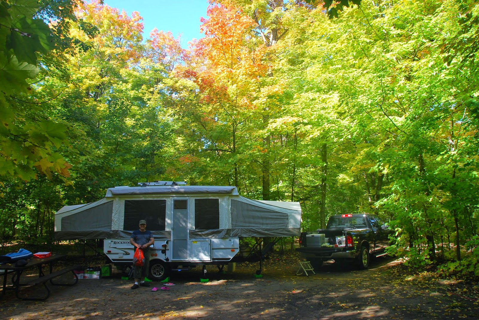 Tent Trailer during fall camping