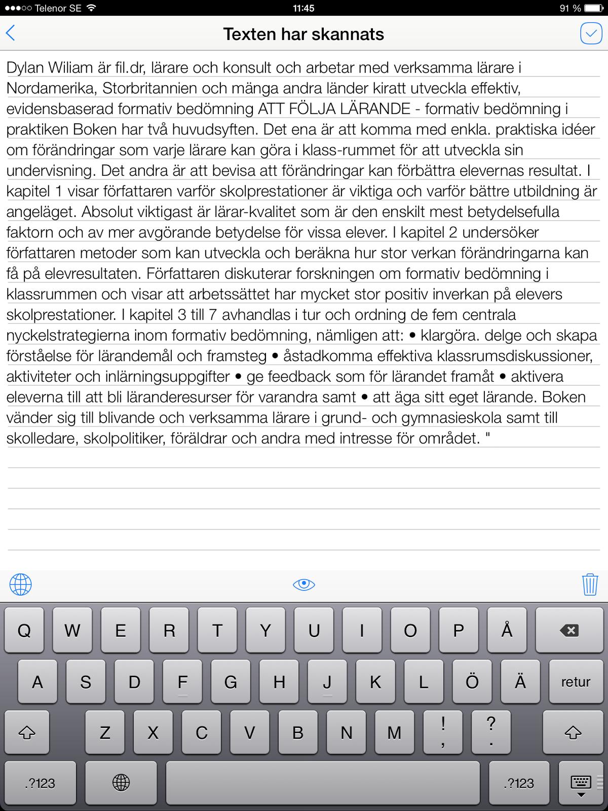 översätt texter på engelska till svenska