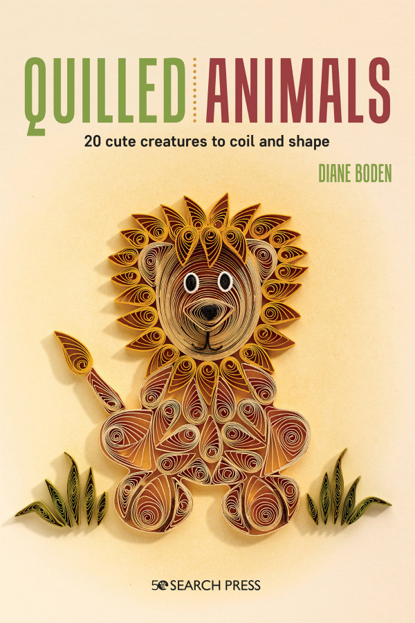 Quilled Animals quilling book cover showing quilled lion