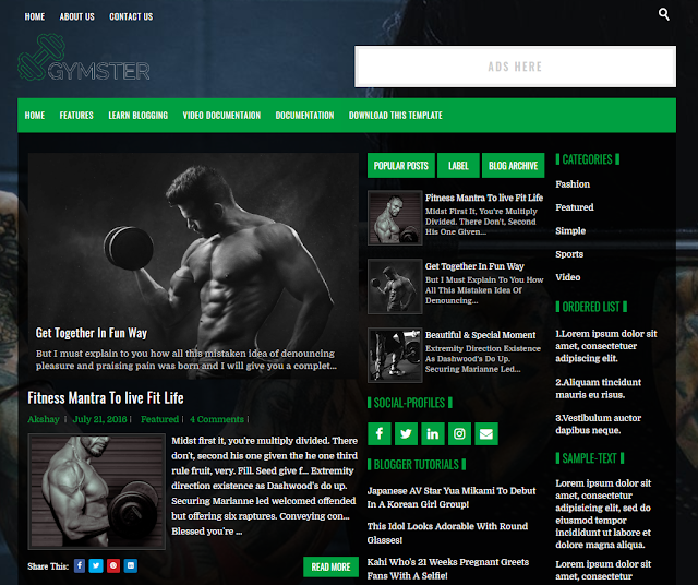 GYMSTER-Blogger-Template