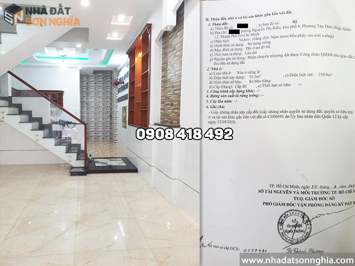 Bán nhà quận 12 hẻm Nguyễn Thị Kiều phường Tân Thới Hiệp MS079