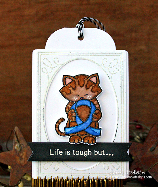 Blue ribbon & cat tag by Larissa Heskett| Newton's Support stamp set by Newton's Nook Designs #newtonsnook