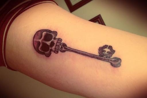 Crânio De Esqueleto Chave De Tatuagem