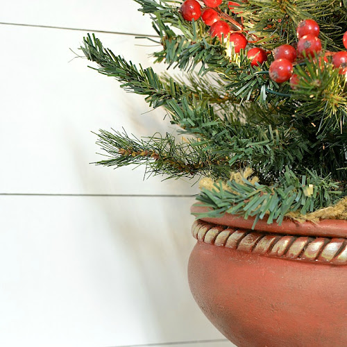 Upcycled Clay Pot Tabletop Christmas Tree Stand