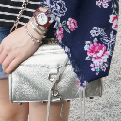 floral kimono and Rebecca Minkoff metallic silver mini MAC bag | away from the blue