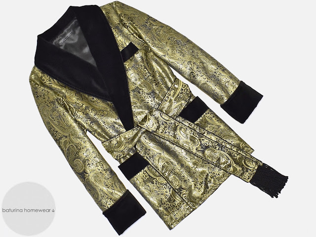 mens gold brocade silk dressing gown paisley black velvet smoking jacket robe luxury