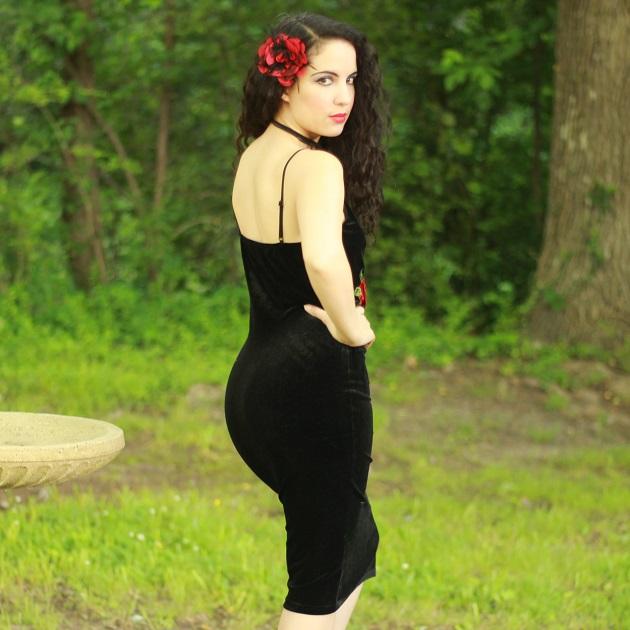Red Rose Applique Dress
