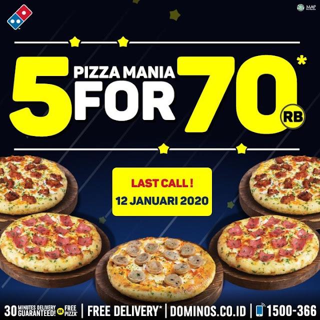 #Dominoz - Promo 5 Pizza Mania Hanya 70K (s.d 12 Jan 2020)