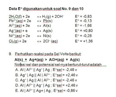 potensial sel, notasi sel, volta, redoks, reduksi, oksidasi