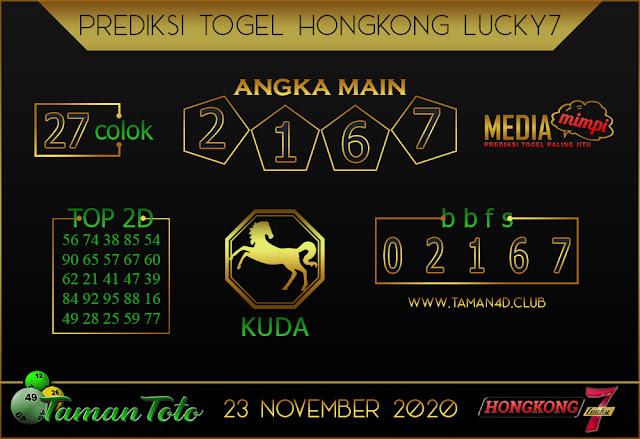 Prediksi Togel HONGKONG LUCKY 7 TAMAN TOTO 23 NOVEMBER 2020