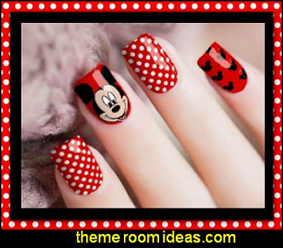 Mickey Mouse Nail Wraps   Minnie Mouse nail design ideas - Polka dot decorating - Mickey Mouse nail decals - Minnie Mouse nail art design ideas - Mickey Mouse Party decorations - party nails - cute nails - Disney themed nail art - minnie mouse nails -  Mickey Mouse nails