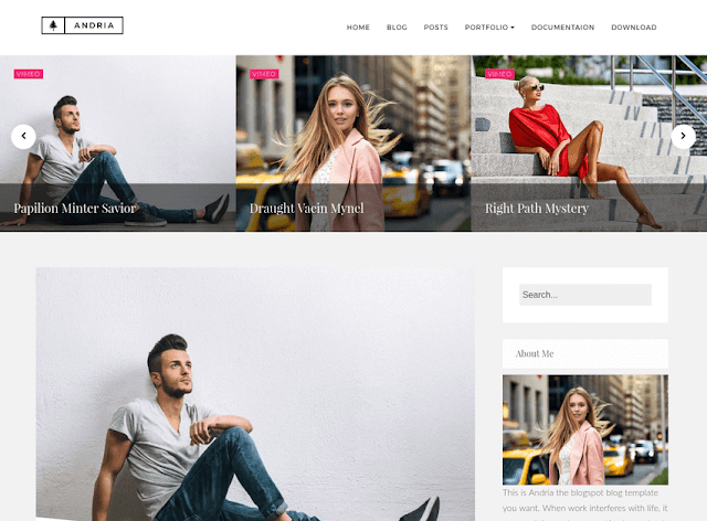 minimal blogger blogging template bully for whatsoever type of weblog amongst modern blueprint too construct clean Free Download Andria