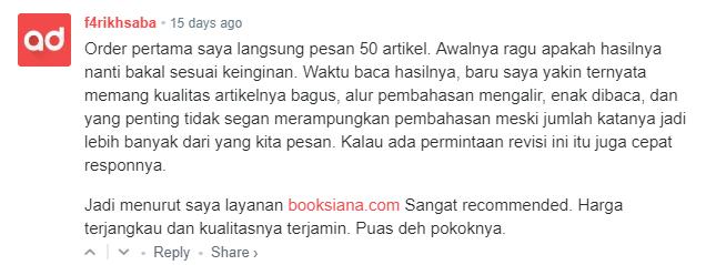 Booksiana.com - Jasa Artikel SEO Murah Generasi Milenial