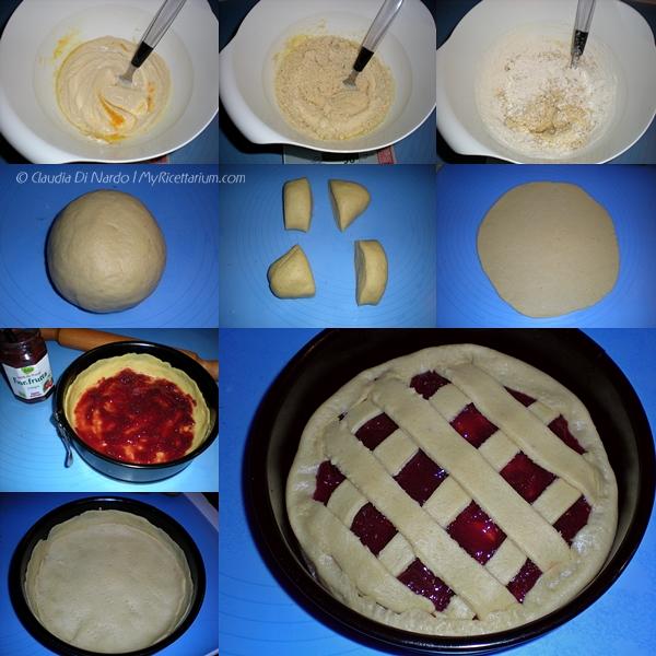 Crostata a strati di frolla allo yogurt e mandorle, con Fiordifrutta ciliegie (senza uova)