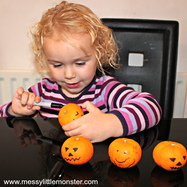 Jack o lantern tangerines pumpkin activity for kids
