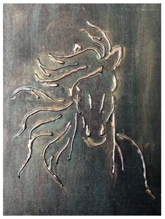 Modern Canvas Hot Glue and Acrylics Art