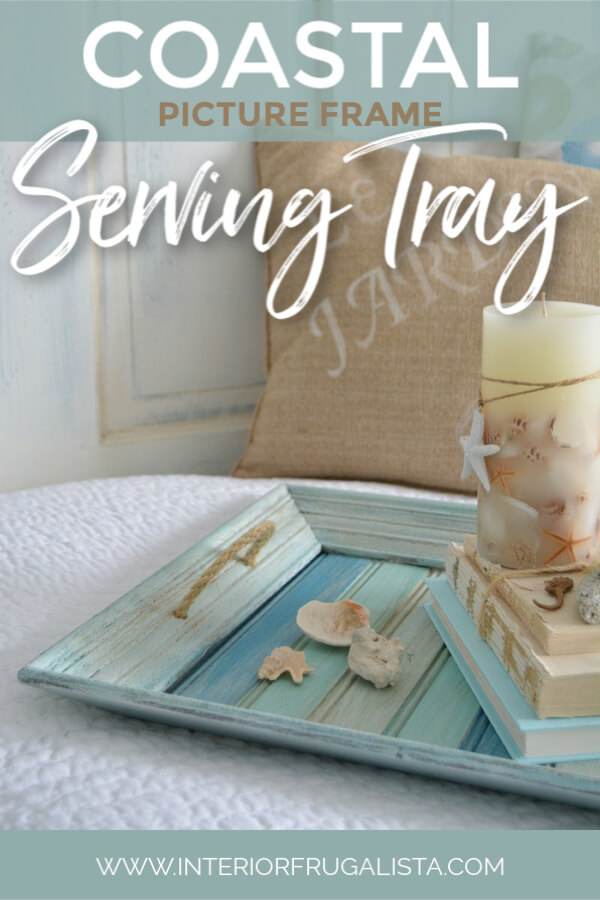 How to easily repurpose a picture frame into a handy serving tray for summer with wood slats painted pretty coastal colors and sisal rope handles. #summertray #diyservingtray #pictureframeservingtray