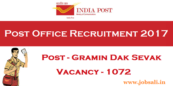 India Post Recruitment 2017, Odisha Postal Circle Recruitment, Post office jobs in Odisha