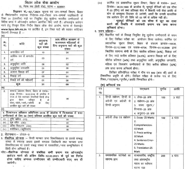 BPSC Bihar Assistant Director DPRO Recruitment 2021