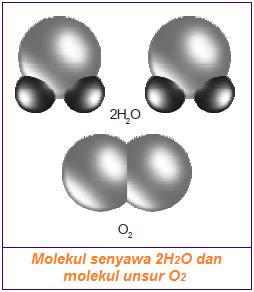 Gambar perbedaan molekul unsur dan molekul senyawa