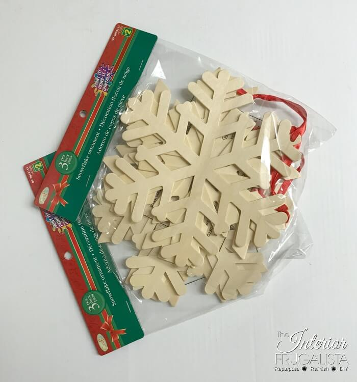 Large Wooden Snowflake Ornament Craft Before
