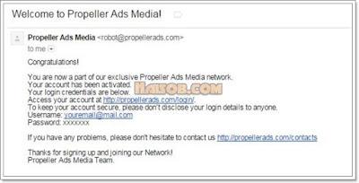 Cara daftar dan pasang iklan Propeller Ads Media ke Blog 4